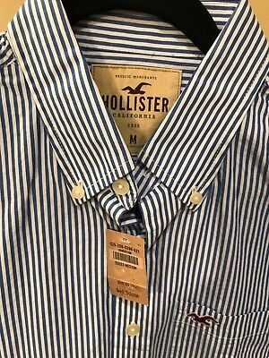 HOLLISTER by Abercrombie mens stripe M NWT musclefit button-down shirt was $49.
