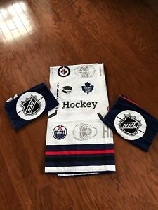 NHL Shower Curtain and 2 Hand Towels