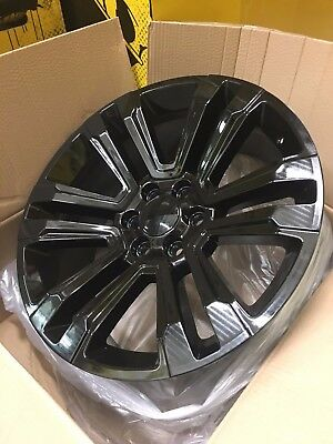 "4 NEW 22x9"" OE Replica 2017 Yukon Denali Wheels Gloss Black GMC Tahoe Chevrolet"