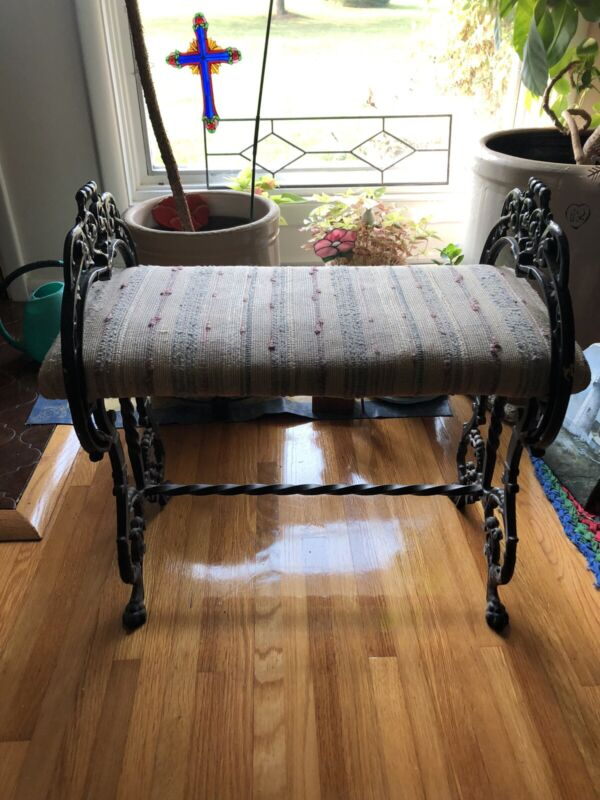 ANTIQUE CAST IRON FIRESIDE BENCH SEAT