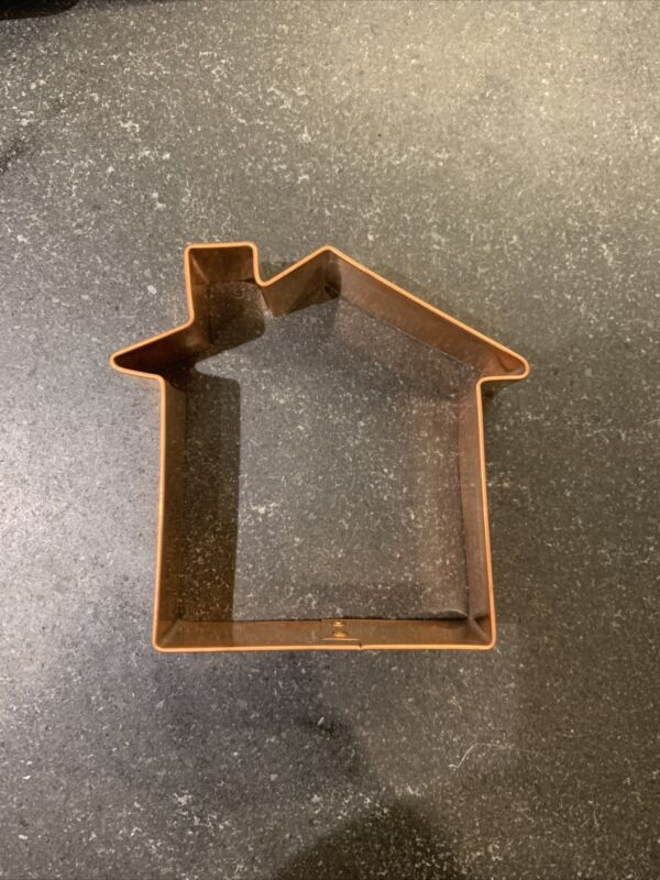 """Boston Mountain Cookie Cutter Copper / shape of a House, 4 """" tall, heavy"""