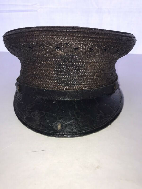 VINTAGE COLECTABLE  FIREMANS WOVEN PARADE DRESS HAT BROWN