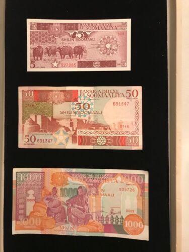 Somalia Vintage Paper Money Lot  - 3 different notes