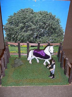 """Diorama """"Pferdekoppel"""" für Schleich Pferde, Modellpferde"""