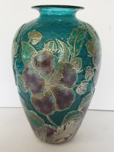 JONATHAN HARRIS SIGNED LIMITED EDITION 4/50 HIBISCUS CAMEO GLASS VASE 18cm