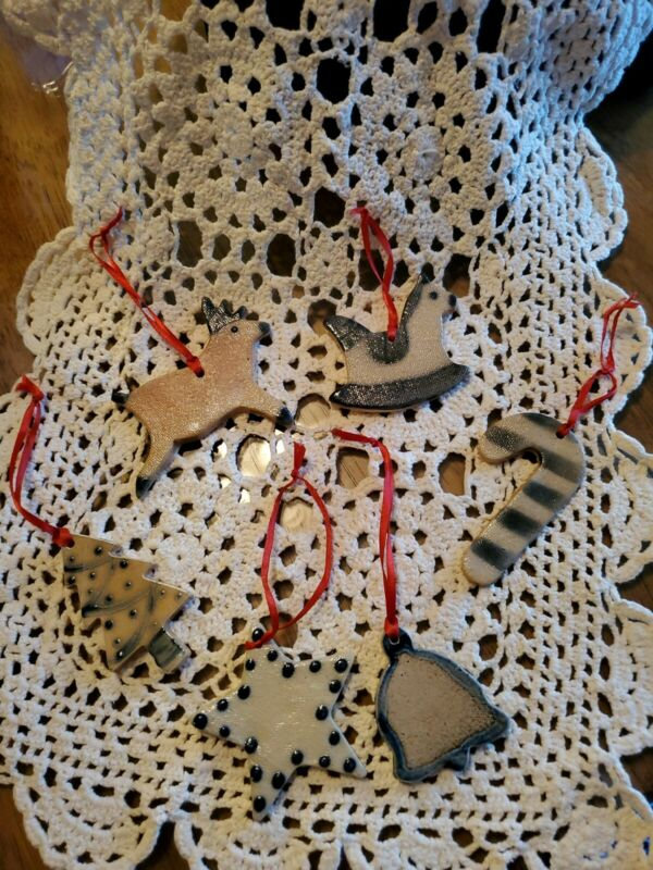 6 flat Salt Glazed Christmas Ornaments by Shadowlawn Pottery Delavan, Wisconsin