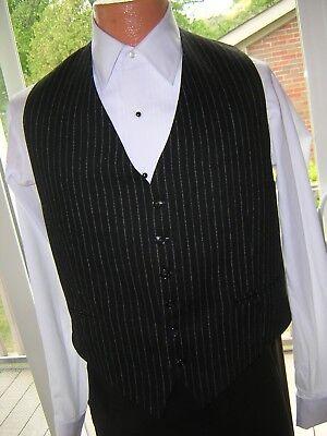 #643 MENS BLACK WOOL PINSTRIPED GANGSTER GAMBLER STYLE VEST WAISTCOAT M (40) - Gangster Vest