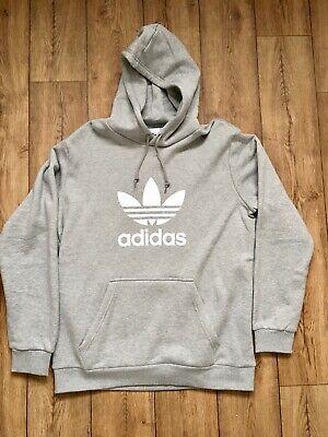 Adidas Trefoil Hoodie Grey Mens Size Large L Retro Logo Hoody