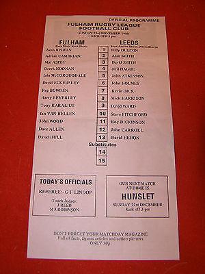 Rugby League Programme Fulham v Leeds Nov 23rd 1980