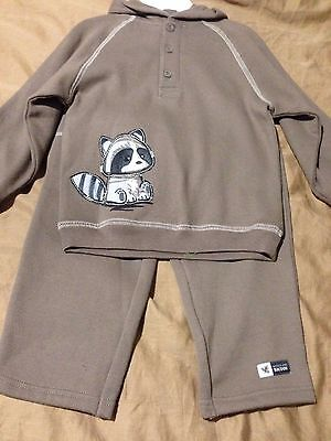 New Carters Boys 2 Piece Brown Hoodie Outfit Set, Size 24 Months