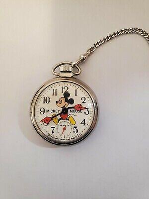 Vintage Bradley Mickey Mouse Manual Wind Pocket Watch w/Chain & Original Box