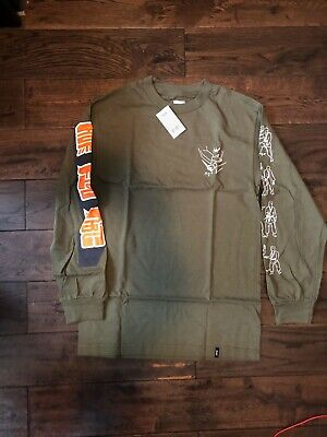HUF     LS TEE  KARATE  LOGO GREEN    SIZE  SMALL    NOW 14.99