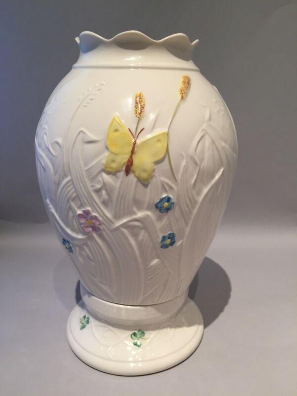 """BELLEEK  """"Summer Garden"""" Hurricane Globe Lamp w Yellow Butterfly"""
