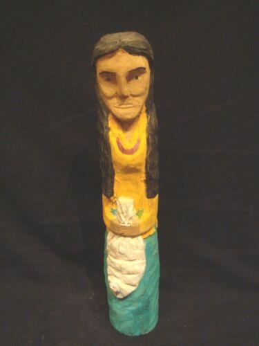 Vintage Navajo Primitive Folk Art Wood Carving Woman w/Necklace Carrying Sack