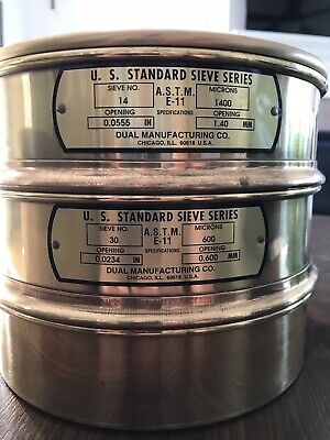 2 Us Standard Sieve Series Dual Mfg Co. Sieve 14 30 With Bottom And Lid