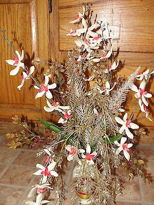 Japanese Choken Porcelain Vase Prism Spray Silk Flower Arrangement Orchids