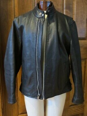 THICK 100% Genuine Leather Jacket Coat Men's Vintage Size L ?XL Hip Length -