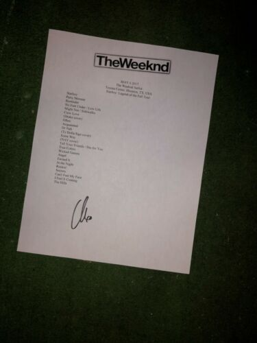 The Weeknd Signed setlist reproduction