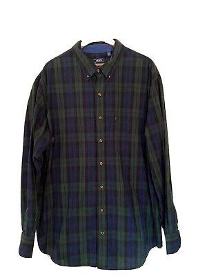 Izod-Black Watch Plaid Men's Button-Down Shirt-Size 2XLT Black Xlt Shirt