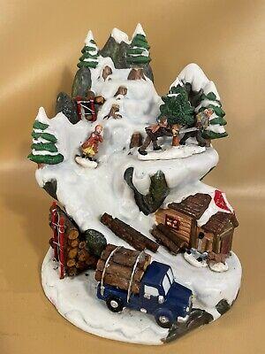 Vintage Christmas Tree Snow Ceramic Sculpture Village