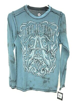 AFFLICTION Men's S Small Thermal Henley Shirt Reversible Blue Black NEW