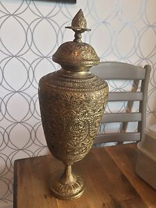 Vintage Ornate solid brass etched urn
