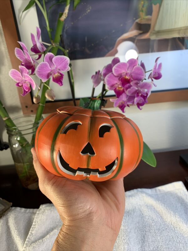 Vintage Ceramic Halloween Pumpkin Designed By Carolina Handcrafted In TaiwanRARE