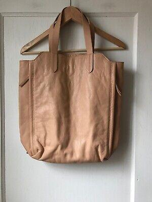 Zara Basic Large Beige Leather Shoulder Bag NWOT