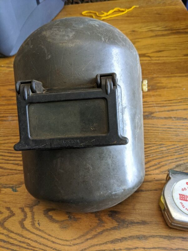 RARE JACKSON HARD HAT WELDING MASK FLIP UP STEAMPUNK VTG GREEN PLASTIC TOOL