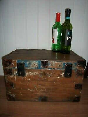 Antique pine wood box, treasure chest, trunk original handles.