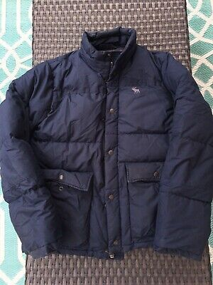 ABERCROMBIE & FITCH Navy Blue Men's DOWN PUFFER Winter Jacket Coat Size LARGE