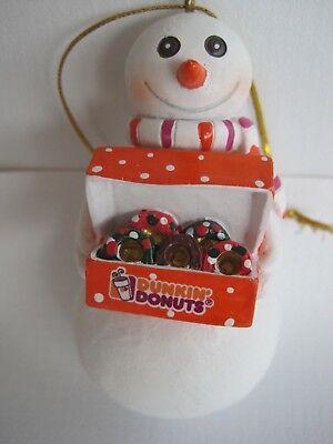 DUNKIN DONUTS - SNOWMAN DONUTS BOX ORNAMENT - IN CLEAR PKG. - CHRISTMAS - - Dunkin Donuts Ornaments