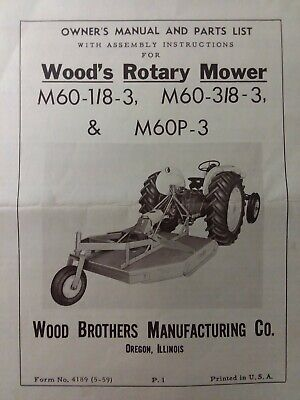 Woods Three Point Hitch Rotary Mower M60 18-3 38-3 M60p-3 Owner Parts Manual