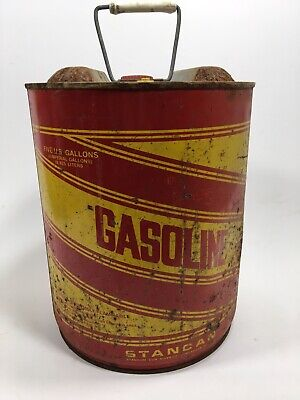 Vintage Round Metal Stancan 5 Gallon Gas Can Fuel Prop Art Garage Decor Man Cave
