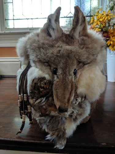 Unique Animal Fox Fur Bead Basket Excellent Condition Taxidermy - $50.00