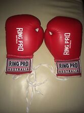 Ring Pro Australia Leather Boxing Gloves Red & White 8 OZ/227 GR Maylands Bayswater Area Preview