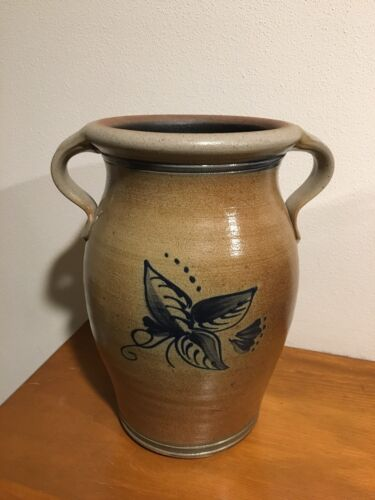 "9.25"" Tall - Rowe Pottery Works Blue Flower Vase Historical Collection"