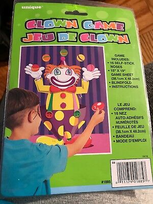 Pin/Stick the Nose On the Clown Game Unique Party Favors #1885 NIP - Pin The Nose On The Clown