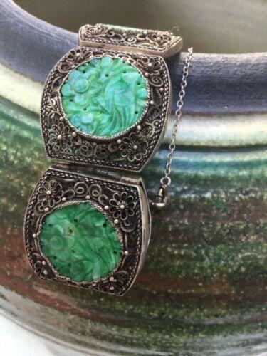Old Chinese Gold Gilt Silver Filigree Carved Jade jadeite Bracelet Bangle 7 in