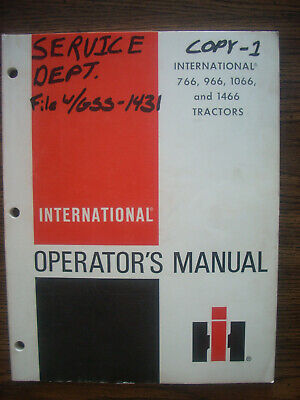 Ih Farmall Mccormick International 766 966 1066 1466 Black Stripe Owners Manual
