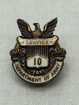 Vintage Hat Pin Department of Army 10 Year Service Pin Eagle Enamel