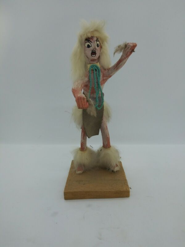 Native American Spear Dancer Kachina Doll Wood Figurine Signed D. Smith