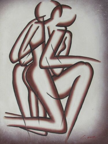 sexy+couple+lovers+nude+large+oil+painting+white+cream+original+erotic+pink