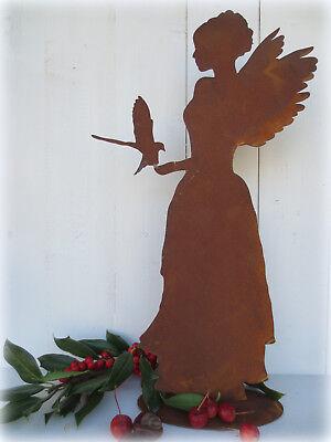 Engel m. Taube auf Platte* H 40 cm * Edelrost * Advent * Weihnachten* Winter* (Taube Platte)