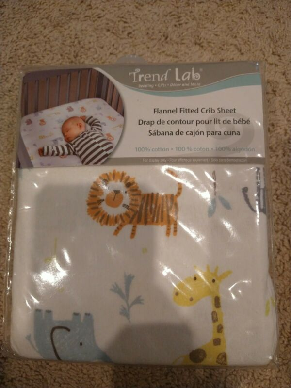 Trend Lab Baby Bed 100 % Cotton Flannel Fitted Crib Sheet Animal Print