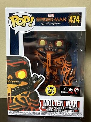 FUNKO POP MARVEL SPIDER MAN FAR FROM HOME MOLTEN MAN 474 GITD GAMESTOP EXCLUSIVE