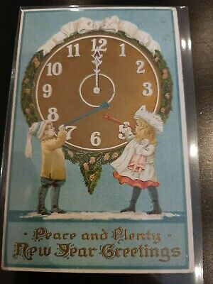 Antique embossed Postcard from around 1920 with 2 kids blowing a trumpet ,clock
