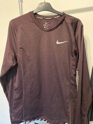 Nike Dri-Fit Mens Running Top T-Shit, Size: M, Long Sleeve