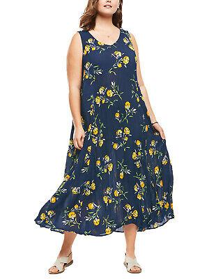 Brand New Size 18/20, 22/24,26/28,30/32 Navy Floral Print Crinkle Maxi Dress b18