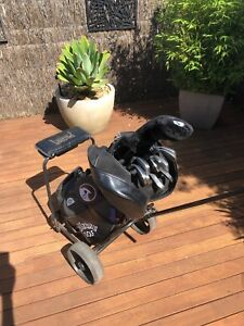 Golf Clubs, buggy, travel bag and more